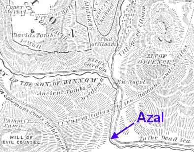 [Image from one of the few maps in Christian books that actually shows (partially) the location of the stream of Azal.]