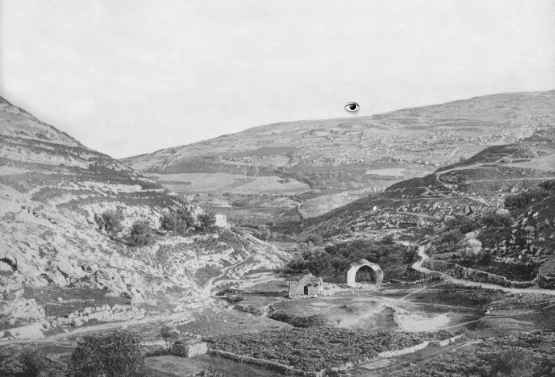 [Photograph taken sometime around 1894 showing area of the king's gardens, the well of En-Rogel, landslide rubble on the Mount of Corruption, and the valley of Azal. Photo is from Earthly Footsteps of the Man of Galilee and the Journeys of His Apostles by John Vincent, et al]
