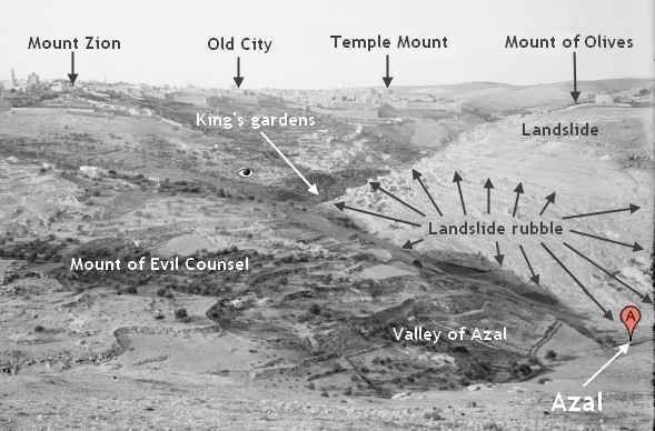 [Photo taken by a member of the American Colony in Jerusalem in the early part of the the twentieth century, showing Jerusalem, the southwestern part of the landslide on the Mount of Corruption, and landslide rubble touching the Azal Valley.]