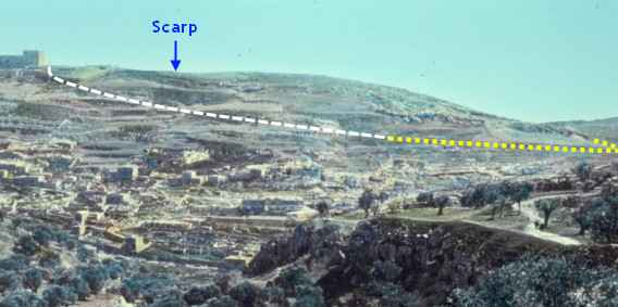 [Picture taken from the Mount of Evil Counsel (or Council) above the Hinnom Valley looking east towards the southern part of the Mount of Corruption, showing a scarp and landslide area.]