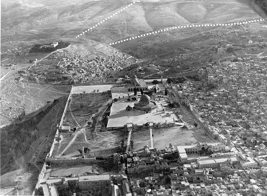 Aerial photo of Jerusalem and Valley of Azal