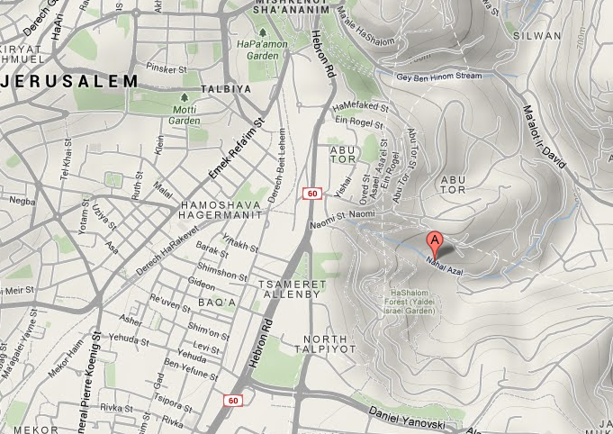 Google Map showing Nahal Azal in Jerusalem  (©2014 Google – Map data ©2014 Mapa GISrael).