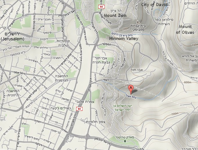 Google Map showing Nahal Azal in Jerusalem  (©2013 Google – Map data ©2011 Mapa GISrael).