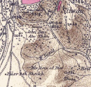 Screenshot from sheet 17 of the Survey of Western Palestine (1871-78) showing Wadi Yasul (W. Yasul in center). Jerusalem lays top center/left, and the Mount of Olives is top right).